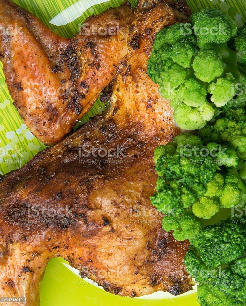 big chicken with luscious green broccoli stock photo