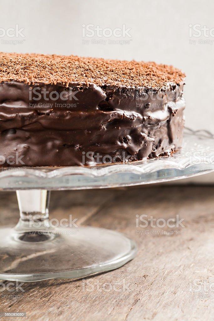 Astonishing Big Chocolate Cake On Festive Glass Stand Stock Photo Download Personalised Birthday Cards Veneteletsinfo