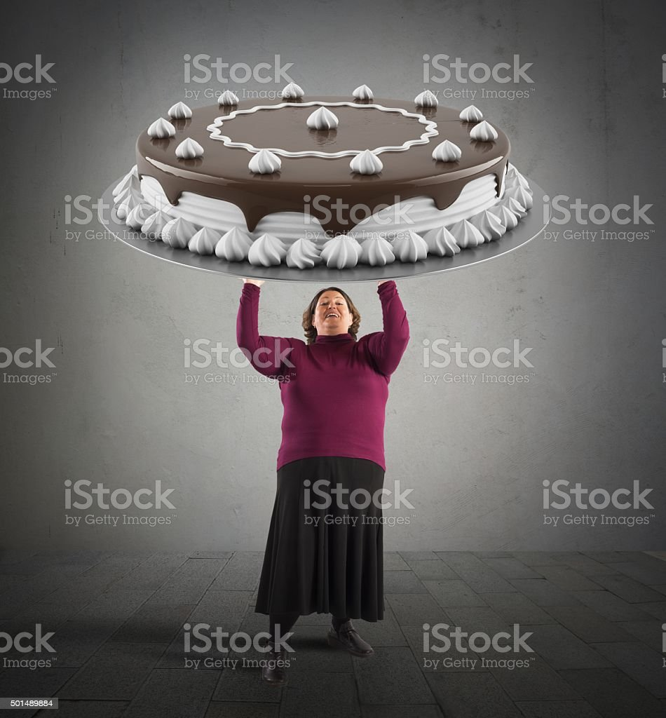 Big chocolate cake stock photo