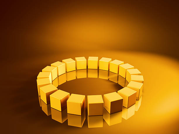 Big Circle Golden Cubes 3D Render of a big circle on the floor made from pixelated golden cubes. Very high resolution available! Use it for Your own composings!Related images: golden cube stock pictures, royalty-free photos & images