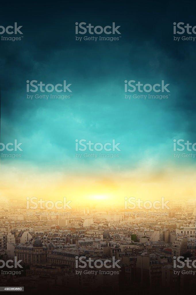 Big city and the explosion bildbanksfoto