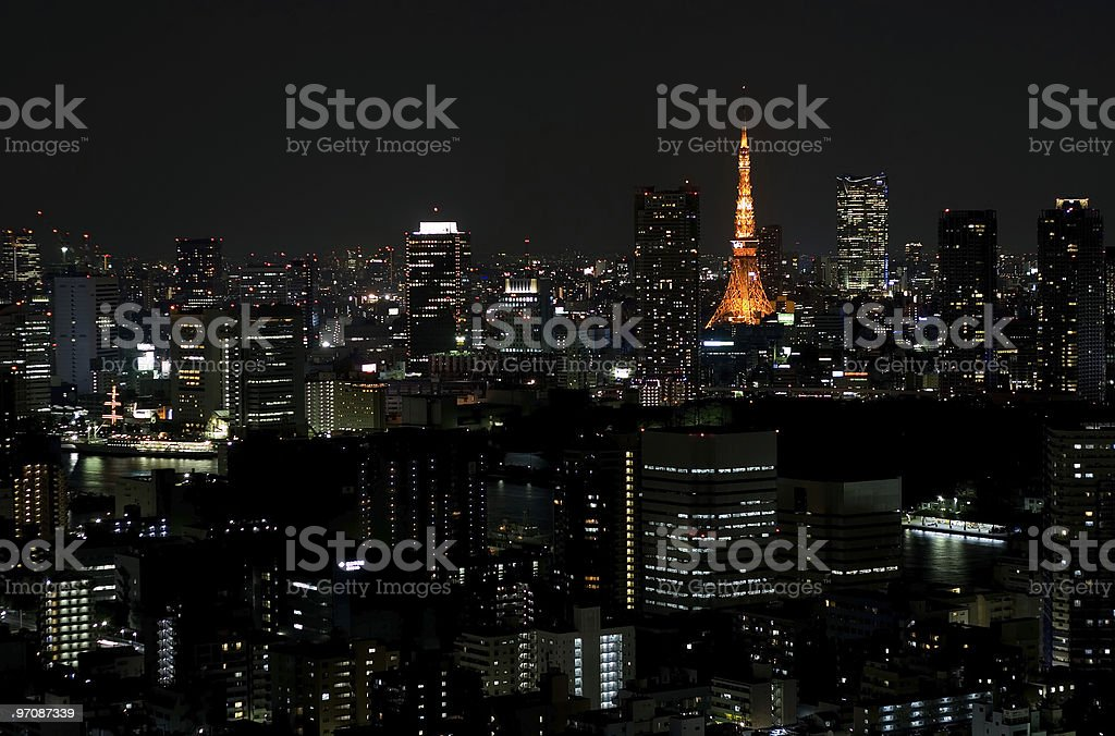 Big city by night - Tokyo royalty-free stock photo