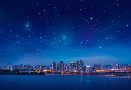 Big city (Seoul) by starry blue night. Photomontage. See my other similar photos: