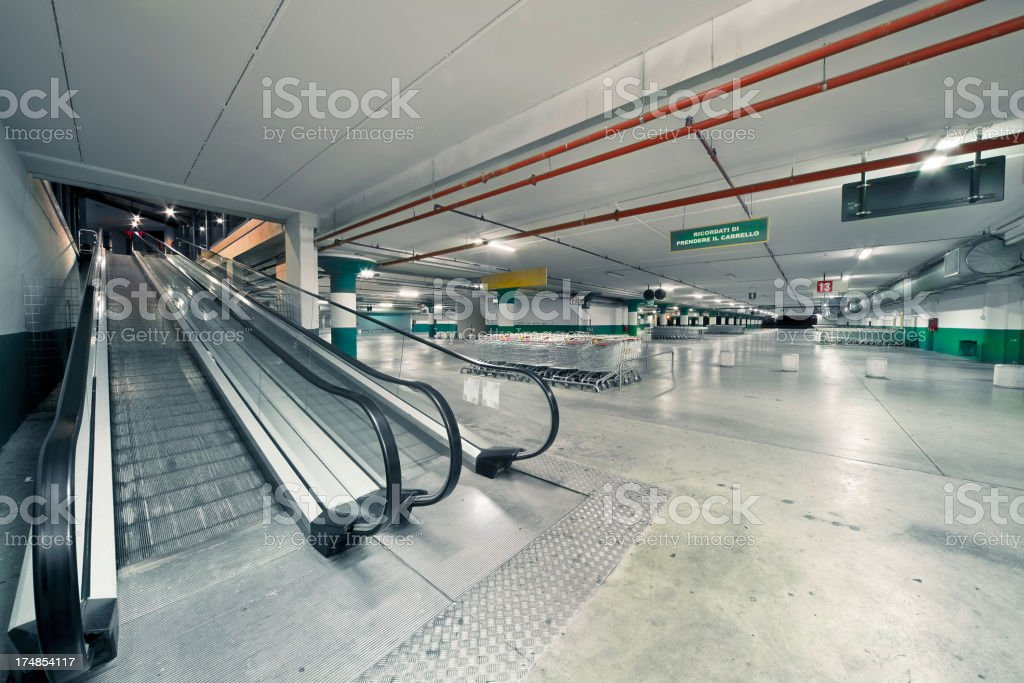 Big city mall empty multilevel-parking at night royalty-free stock photo