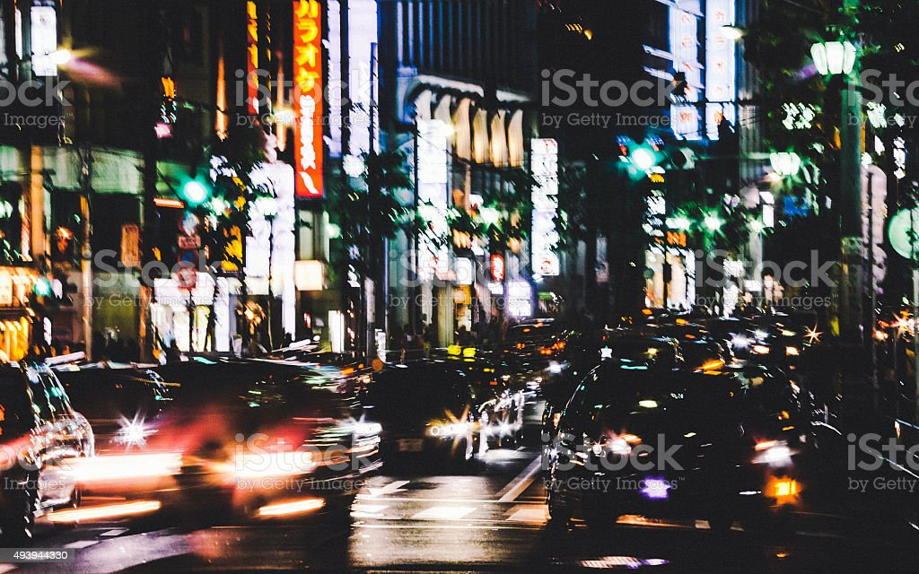 Big city streets. Roppongi, Tokyo. stock photo