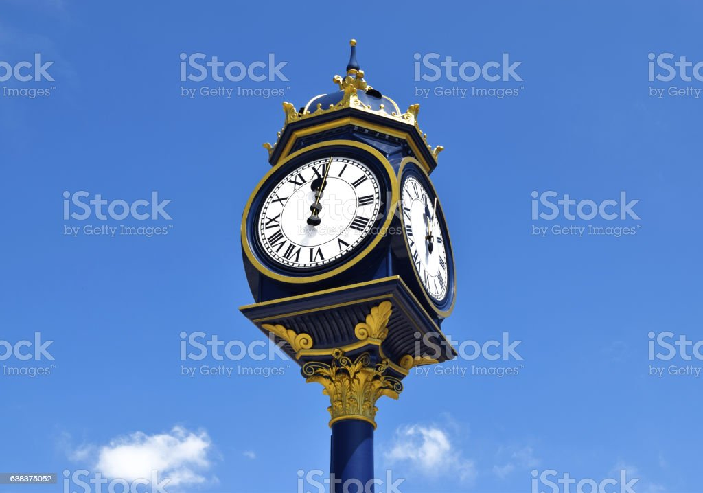 Big clock in city centre of Birmingham, United Kingdom stock photo