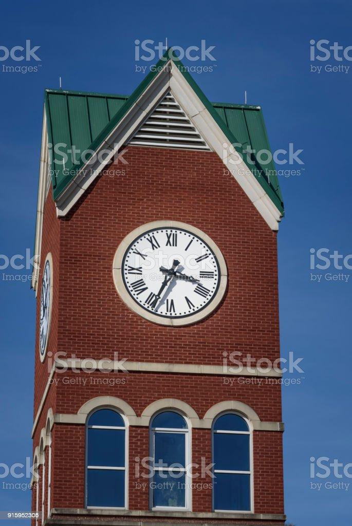 Big clock tower in Cumming Georgia stock photo