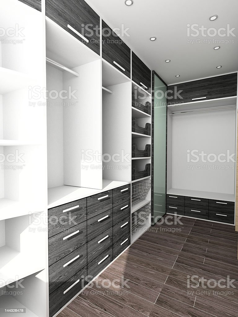 Big closet in home interior stock photo