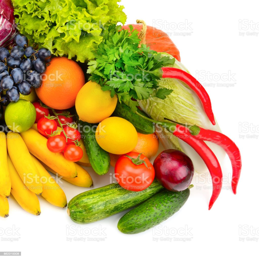 Big collection fresh of fruits and vegetables isolated on white. stock photo