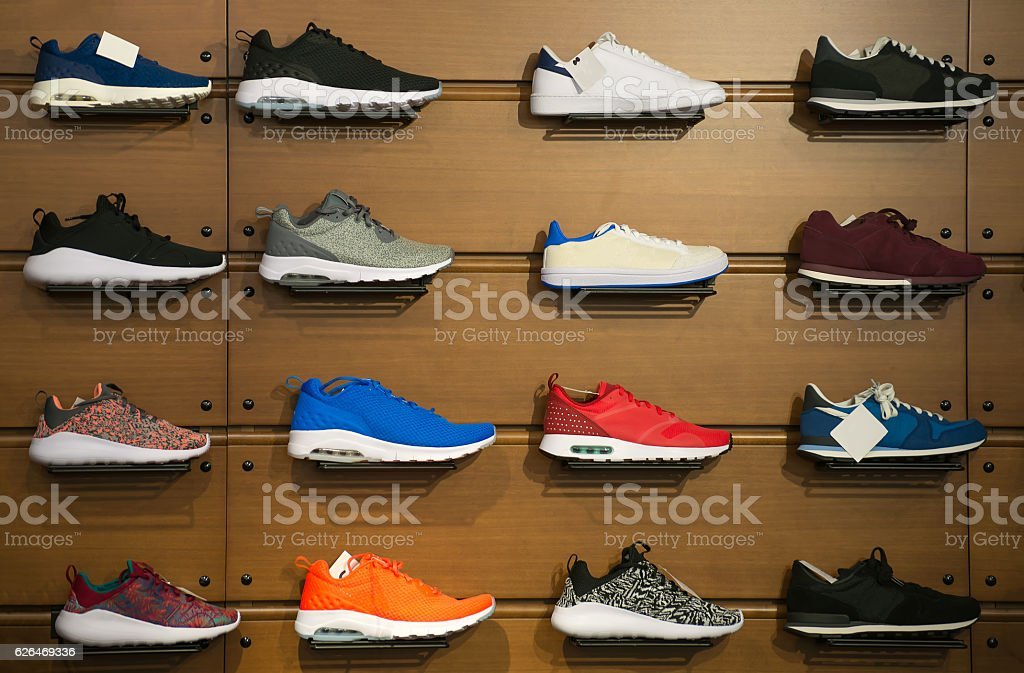 Big collection of different sport shoes. – Foto