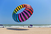 Phetchaburi, THAILAND - March 11, 2017: Cha-am beach, People enjoy attraction balloon kite International Festival they have beautiful colorful of many type of kite contest, very famous for tourist.