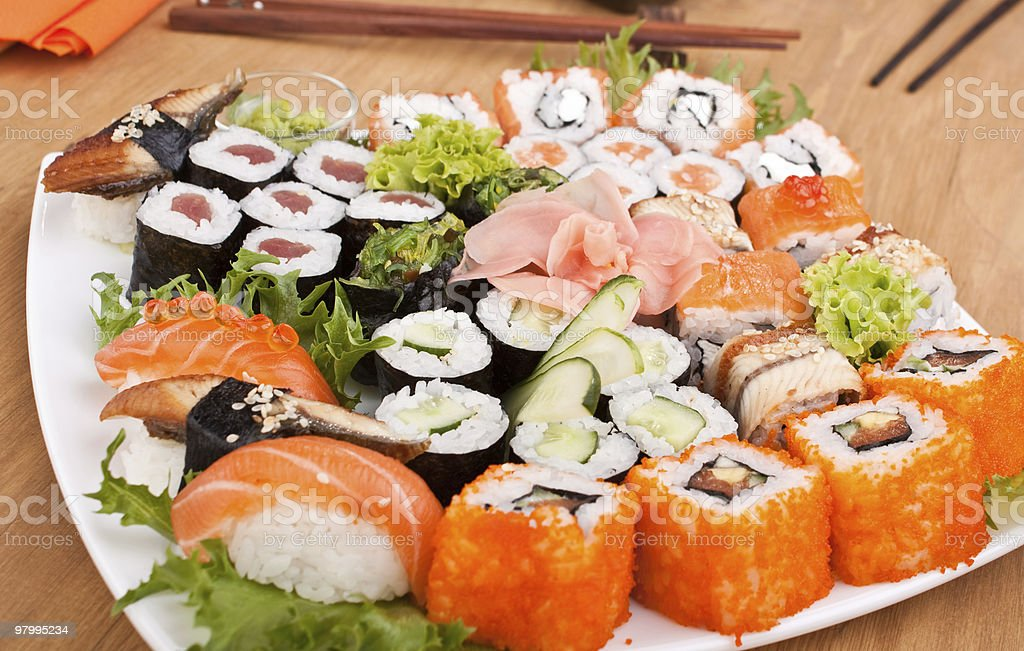 big colorful sushi set royalty free stockfoto