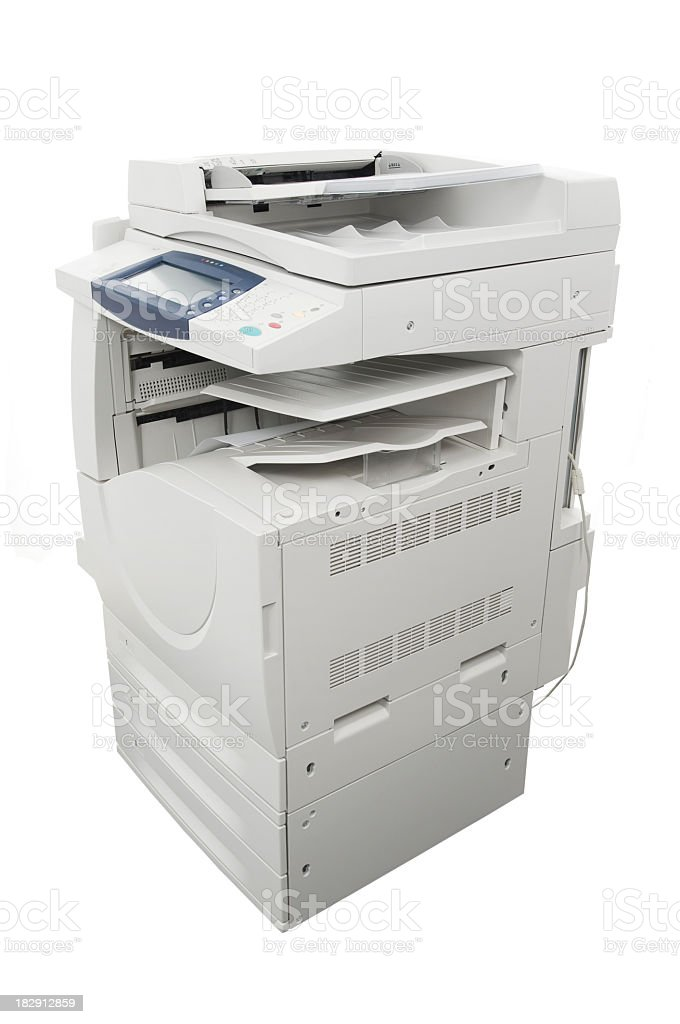 Big computer printer, isolated on white royalty-free stock photo