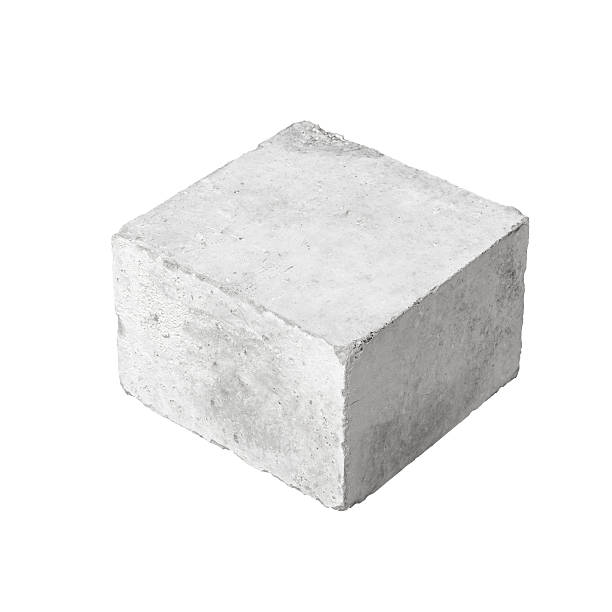 Big concrete construction block isolated on white stock photo