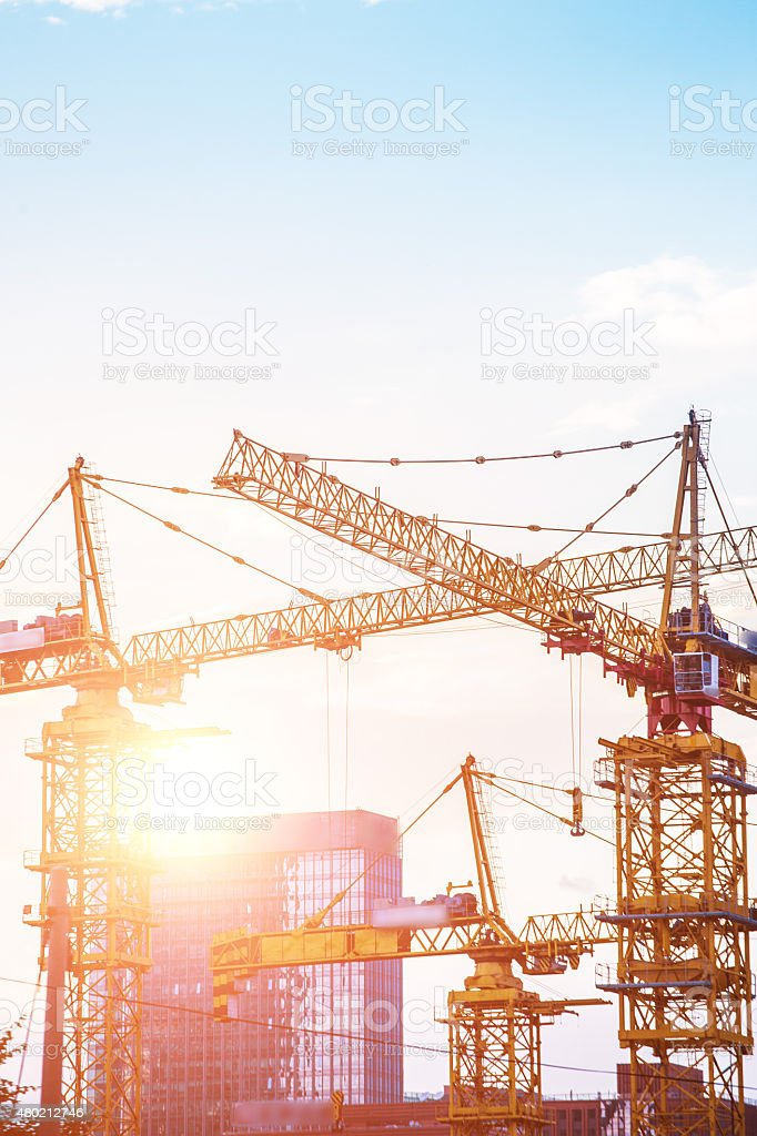 Big construction site in Frankfurt with sunlight stock photo