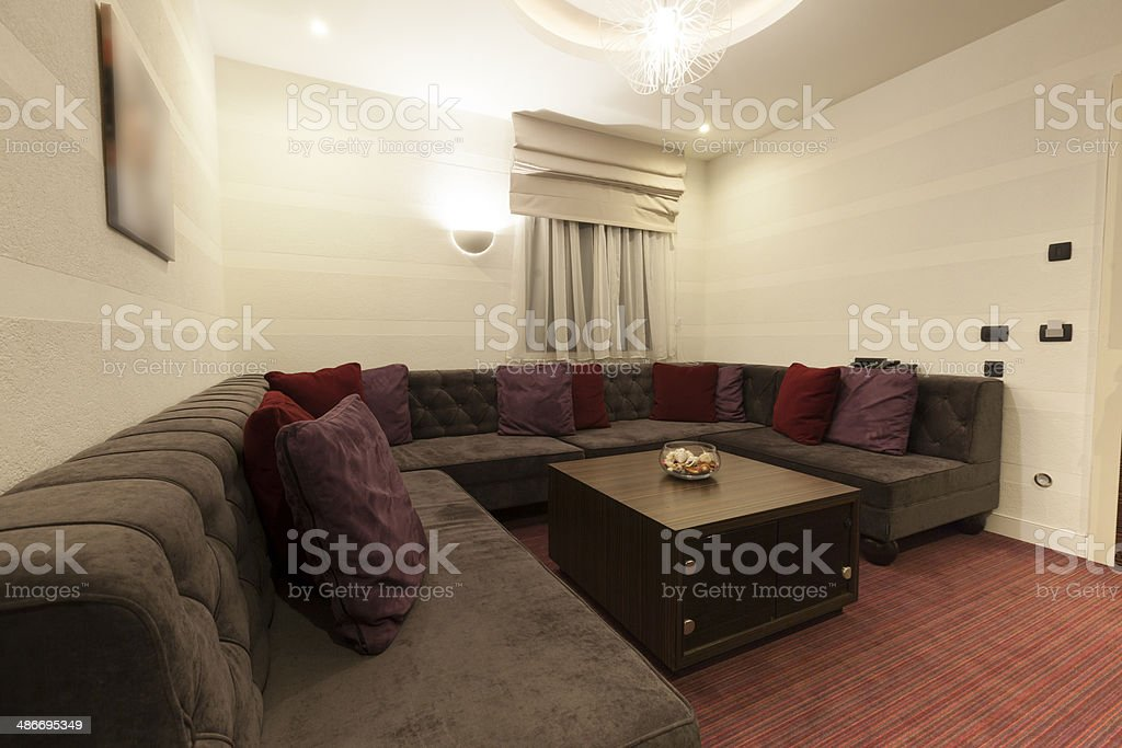 Big Corner Sofa In Luxury Hotel Room Stock Photo - Download ...