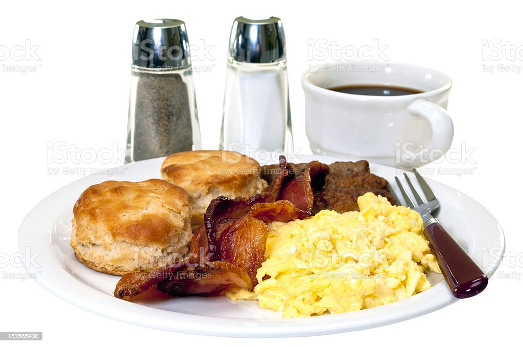 Big Country Breakfast Isolated stock photo