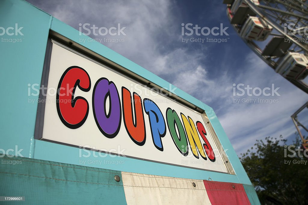 Big Coupon Stand At A Carnival stock photo