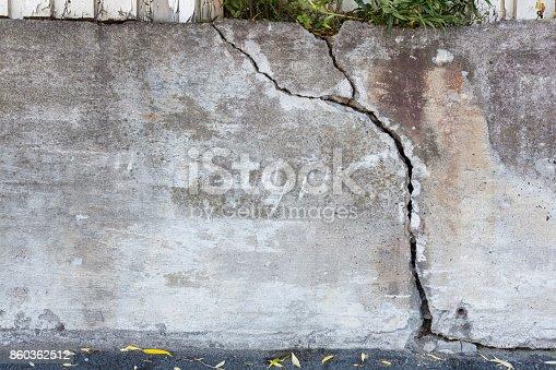 istock Big crack concrete wall outdoors 860362512