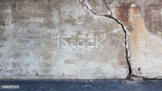 istock Big crack in concrete wall 646097974