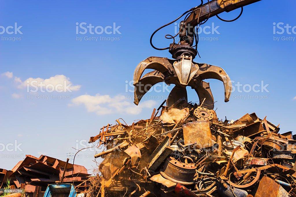 Big crane above pile. stock photo