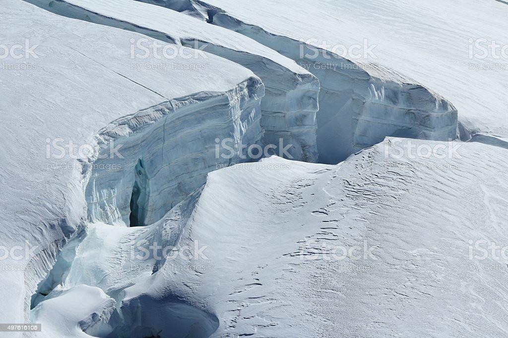 Big crevasse on the Aletsch glacier stock photo
