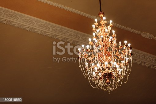 istock big Crystal Chandelier. Group of hanging crystals 1300516550