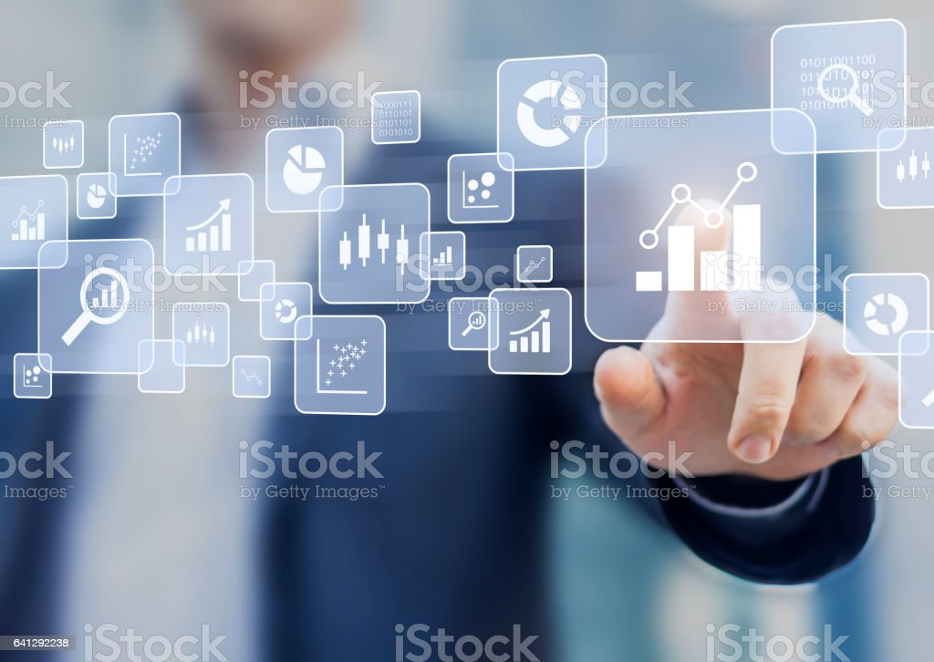 Big data analytics and business intelligence (BI) concept, icons, interface stock photo
