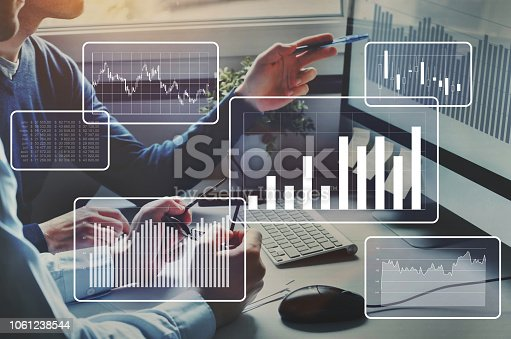 istock Big data analytics, financial charts, business team working on computer. 1061238544