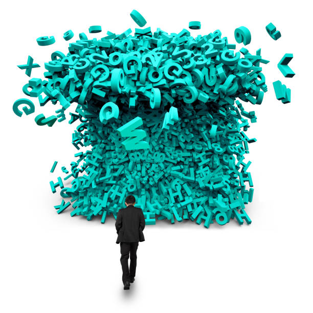 Big data. Businessman walking toward a huge characters tsunami wave. stock photo