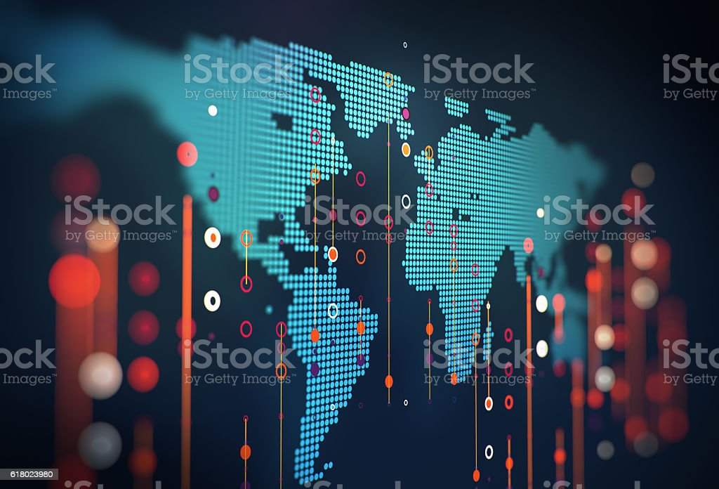 Big data futuristic visualization abstract illustration royalty-free stock photo