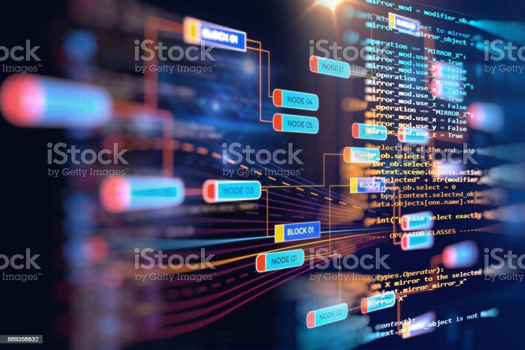 Big data futuristic visualization abstract illustration royalty-free stock photo