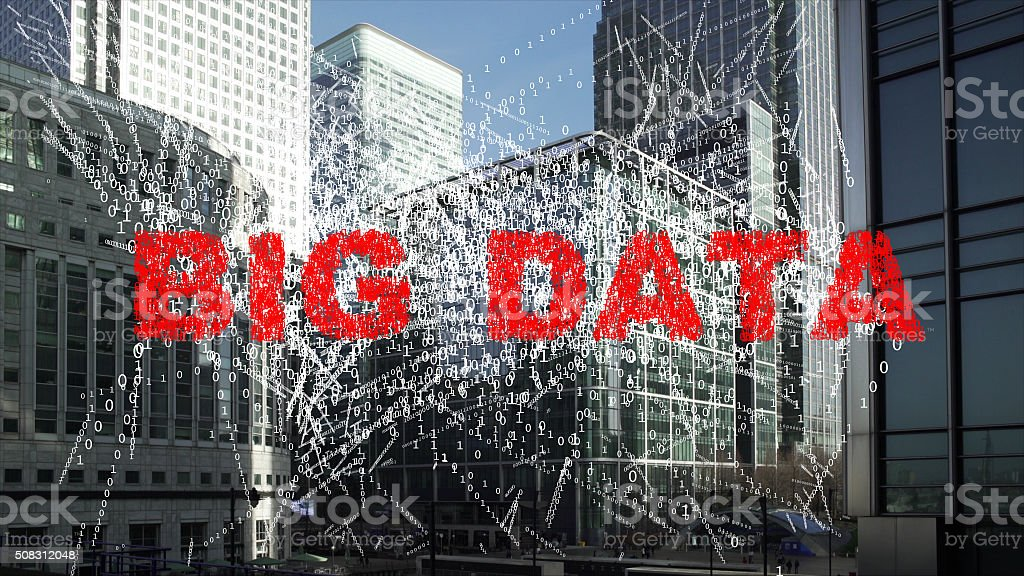 Big data - information being collected from Financial district towers. stock photo
