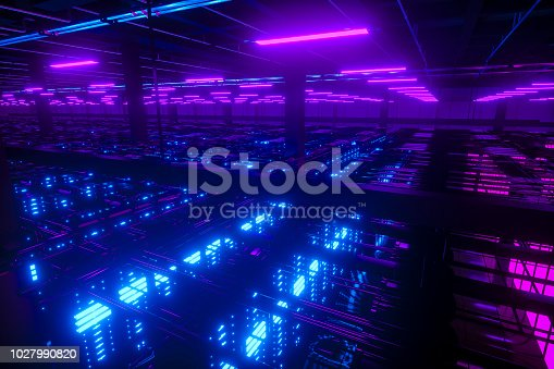 data center in futuristic steel and glass structure room for backup