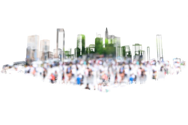Big data , smart city energy , electric Energy Distribution chain industry technology concept.  3D rendering of building and blur group of people in city with white background. stock photo