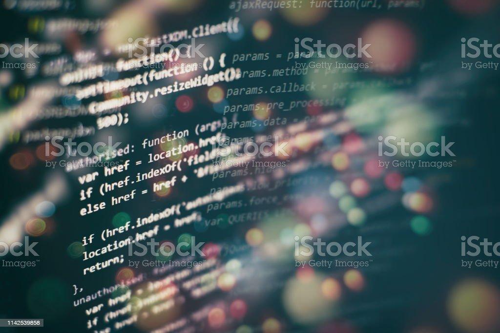 Big data storage and cloud computing representation. Programming code . royalty-free stock photo