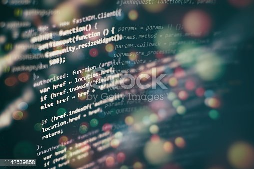 istock Big data storage and cloud computing representation. Programming code . 1142539858