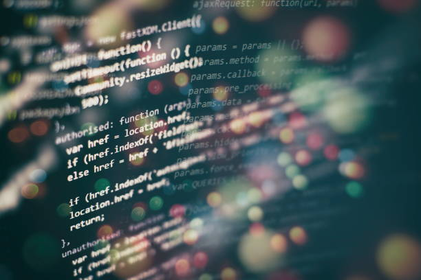 big-data-speicherung und cloud-computing-darstellung. programmiercode. - html stock-fotos und bilder