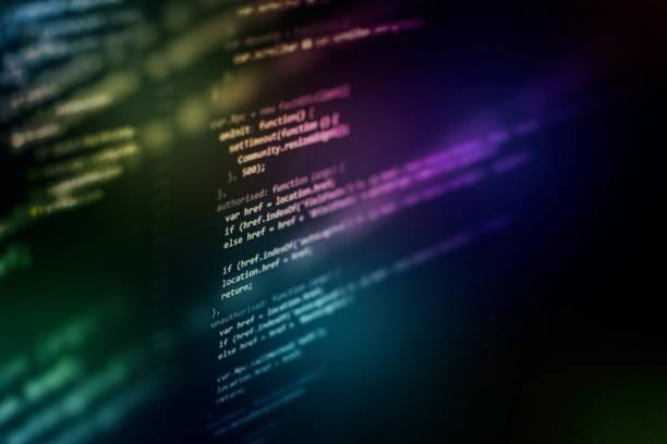 Büyük veri depolama ve bulut bilgi işlem temsili. Programlama kodu. stok fotoğrafı