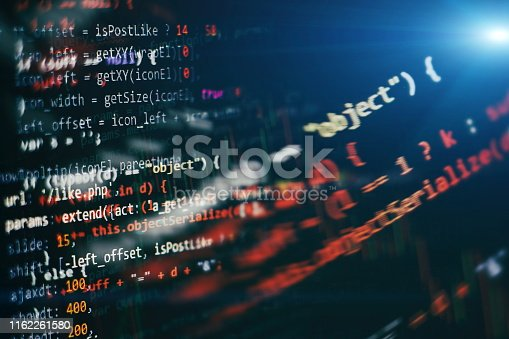 istock Big data storage and cloud computing representation. Programming . Developer working on web sites codes in office. 1162261580