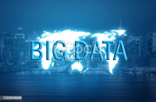 istock Big data text on world map and blurred city background 1033839688