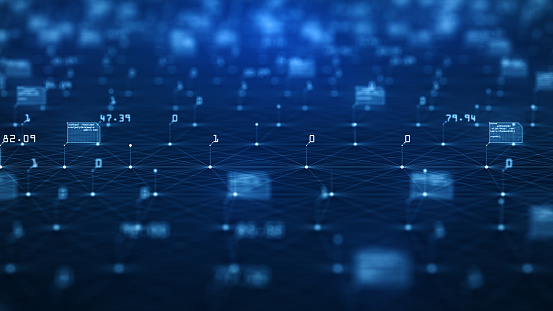 istock Big data visualization concept. Machine learning algorithms. Analysis of information. Technology data and binary code network conveying connectivity. 1155794309