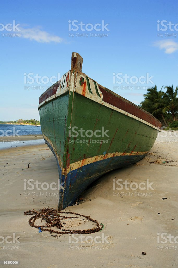 big dhow on beach royalty-free stock photo