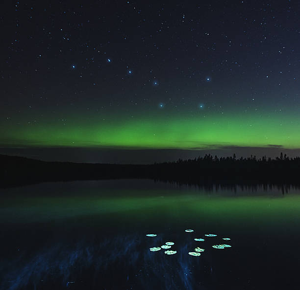 Big Dipper Lake Faint Northern Lights shine over a very still lake under the Big Dipper.  Long exposure with light painting. big dipper constellation stock pictures, royalty-free photos & images