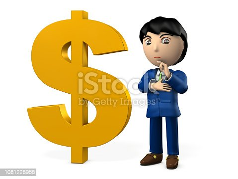 istock A big dollar sign. A young businessman is standing near by it proudly.  3D illustration 1081228958