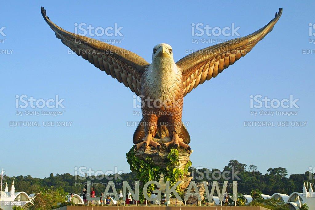 Big eagle statue on Langkawi island stock photo