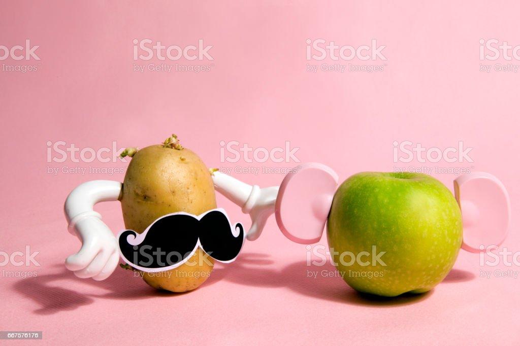 Big ear apple and mustache potato stock photo