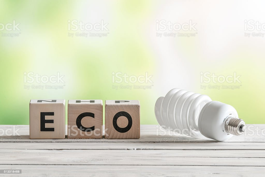 Big eco bulp on a wooden table stock photo