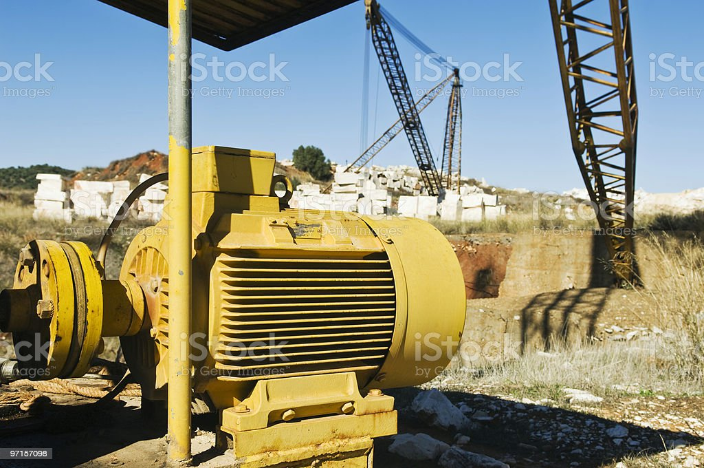 Big electric motor in a marble quarry royalty-free stock photo
