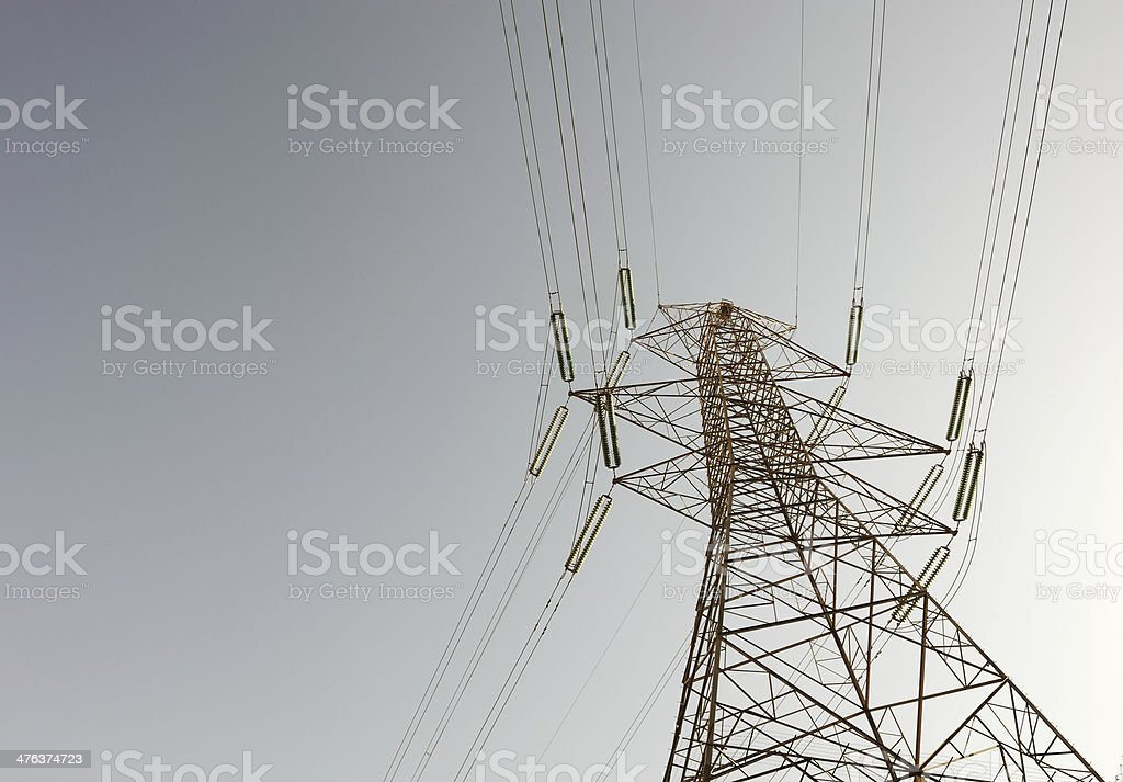 Big electric power station with cables royalty-free stock photo